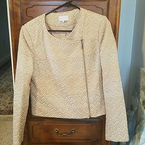 Tan lined jacket with zippers